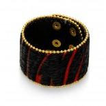 Zdjęcie - Czarno czerwona bransoletka włochata zebra 18-21cm