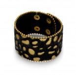 Zdjęcie - Bransoletka panterka włochata w kolorze czarnym i złotym 18-21cm