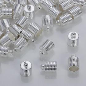 Zdjęcie - Rowkowane końcówki do rzemieni i sznurków w srebrnym kolorze 10mm
