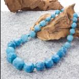 Zdjęcie - Agat kulki ciosane stopniowane błękitne 50cm