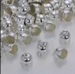 Zdjęcie - Rowkowane końcówki do rzemieni i sznurków beczułki w srebrnym kolorze 10mm