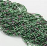 Zdjęcie - Zoisyt z rubinem kulka fasetowana zielona 2mm