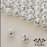 Zdjęcie - Koralik geometryczny w srebrnym kolorze 8mm