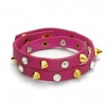 Zdjęcie - Różowa bransoletka ćwieki z cyrkoniami 2x20cm