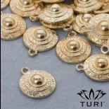 Zdjęcie - Zawieszka tarcza ze wzorkami w złotym kolorze 18mm