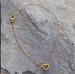 Zdjęcie - Srebrna bransoletka simple z wyciętym serduszkiem Ag925 pozłacane 18,6cm