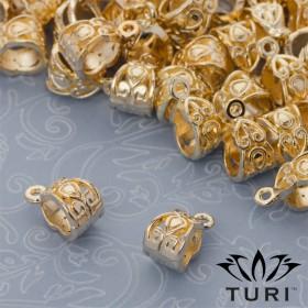 Zdjęcie - Krawatka z łezka ozdobna w złotym kolorze 13x7.5mm
