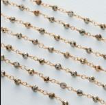 Zdjęcie - Łańcuch srebrny ag925 pozłacany z pirytem fasetowanym 3mm