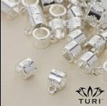 Zdjęcie - Krawatka do rzemieni z kwiatami w srebrnym kolorze 5mm