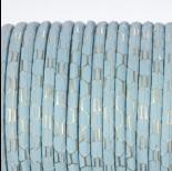 Zdjęcie - Rzemień klejony błękitny ze złotym wzorkiem 4mm