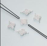 Zdjęcie - Łącznik z cyrkoniami kwiatek ag925 15x10mm