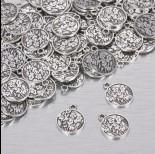 Zdjęcie - Zawieszka monetka z kwiatami polnymi w kolorze ciemnego srebra 15mm