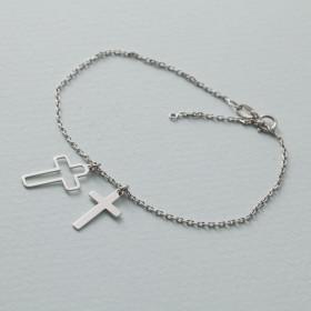 Zdjęcie - Bransoletka rodowana z dwoma krzyżami AG925 17 - 20 cm