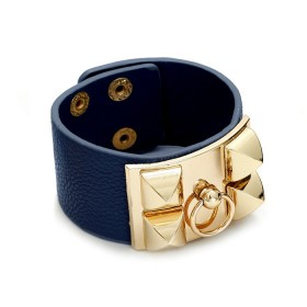 Zdjęcie - Granatowa bransoletka z zawleczką złotą 18-21cm