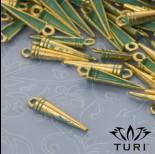 Zdjęcie - Zawieszka szpikulec w złotym kolorze z patyną 20x4.5 mm