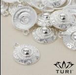 Zdjęcie - Zawieszka tarcza ze wzorkami w srebrnym kolorze 18mm