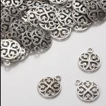 Zdjęcie - Zawieszka z ciemnego srebra z serduszkami 15mm