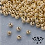 Zdjęcie - Drobny koralik z warkoczem w kolorze złotym 4mm