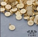 Zdjęcie - Zawieszka monetka z wzorkiem w złotym kolorze 7.5mm