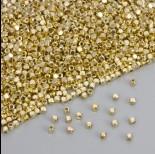 Zdjęcie - Koralik sześcianik ze ściętymi krawędziami w kolorze złotym 2.5mm