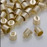 Zdjęcie - Okrągłe końcówki w kolorze złotym z kropeczkami 9.5mm