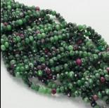 Zdjęcie - Zoisyt z rubinem oponka fasetowana zielona 4x6mm