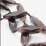 Zdjęcie - Agat szary duża oliwka fasetowana 70x20mm