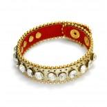 Zdjęcie - Bransoletka w kolorze złota kryształki nabijane z łańcuszkiem 18-21cm