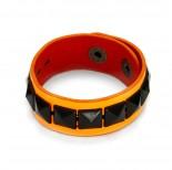 Zdjęcie - Fluorosencyjna pomarańczowa bransoletka czarne ćwieki piramidki  18-21cm