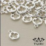Zdjęcie - Zawieszka kółko z kwiatkiem w srebrnym kolorze 9.5mm