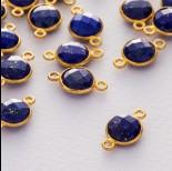 Zdjęcie - Lapis lazuli krążek fasetowany łącznik w okuciu pozłacanym ag925  15x9mm