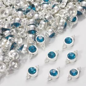 Zdjęcie - Przekładka z kryształkiem koloru srebrnego capri blue  10mm