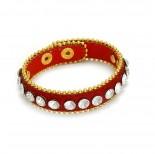 Zdjęcie - Czerwona bransoletka kryształki oplatane łańcuszkiem 18-21cm