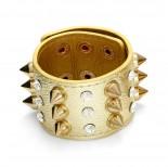 Zdjęcie - Bransoletka w kolorze złota ćwieki z kryształkami rzędy 18-21cm