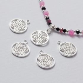 Zdjęcie - Zawieszka srebrna kwiatki w kółku srebrny 11 mm