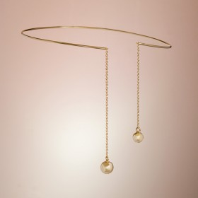 Zdjęcie - Srebrny pozłacany naszyjnik obręcz shinte, próba Ag925 13cm
