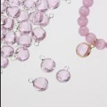 Zdjęcie - Zawieszka w okuciu w srebrnym kolorze z jednym oczkiem  rose 10mm