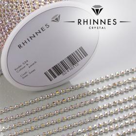 Zdjęcie - Taśma z kryształkami kolor srebrny lt. peach AB 2mm