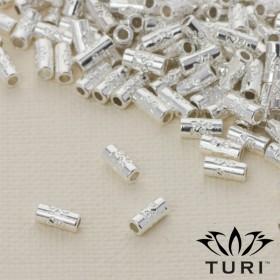 Zdjęcie - Rurka ze wzorkiem w srebrnym kolorze 6.5x3mm