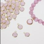 Zdjęcie - Zawieszka w okuciu w złotym kolorze z jednym oczkiem  opal rose 8mm
