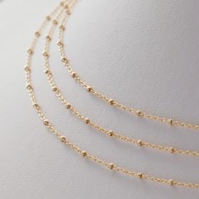 Zdjęcie - Gotowy łańcuszek ozdobny z oponkami diamentowanymi pozłacany AG925 45cm
