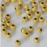 Zdjęcie - Srebrne kulki diamentowe pozłacane próba 925 4mm