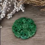 Zdjęcie - Antyczna rzeźbiona zawieszka z jadeitu zielona 65-75mm