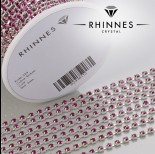 Zdjęcie - Taśma z kryształkami kolor srebrny fuchsia 3mm
