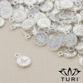 Zdjęcie - Zawieszka monetka jemioła w srebrnym kolorze 7.5mm