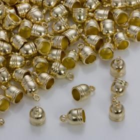 Zdjęcie - Końcówki do rzemieni i sznurków beczułki w złotym kolorze 8,5mm