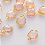Zdjęcie - Różowy kryształ kwadrat fasetowany łącznik w okuciu pozłacanym ag925  15x10mm