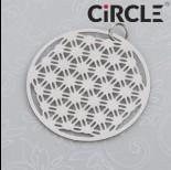 Zdjęcie - Zawieszka okrągła geometryczna siateczka stal chirurgiczna z kółeczkiem 30mm