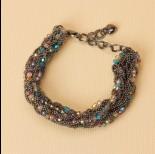 Zdjęcie - Bransoletka z drobnych łańcuszków z kryształkami 20-25cm